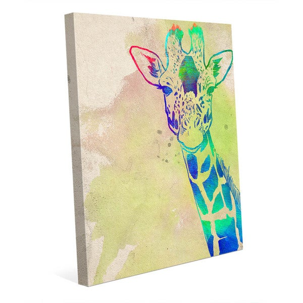 Rainbow Giraffe\' Canvas Ready-to-hang Wall Art - Free Shipping Today ...
