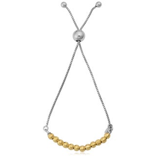 Argento Italia Rhodium Plated and Yellow Gold Over Sterling Silver Diamond-cut Beads on Adjustable Length Chain Slide Bracelet