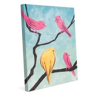'Bird School Recess' Multicolored Canvas Wall Art