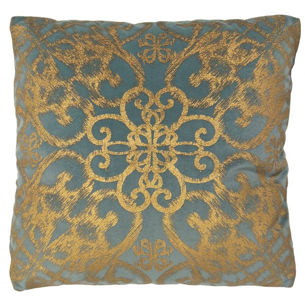 Alicante by Artistic Linen Blue/Goldtone Velvet 18-inch Metallic Decorative Throw Pillow