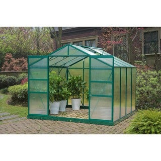 Sunjoy 8-foot x 8-foot Aluminum Frame Double Sliding-door Greenhouse