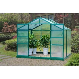 Sunjoy Green Aluminum/Polycarbonate 6-foot x 8-foot Double-sliding-door Greenhouse Frame