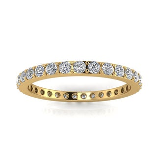 14k Yellow Gold 5/8- 3/4ct TDW Diamond Pave Set Eternity Ring (J-K, SI1-SI2)