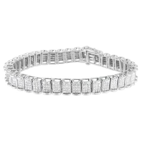 14K White Gold 5ct TDW Princess-cut Diamond Bracelet (H-I, SI2-I1)