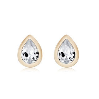 Yellow Gold Plated Pear-cut Cubic Zirconia Stud Earrings