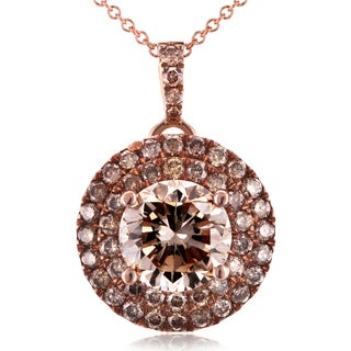 Annello by Kobelli 18k Rose Gold 1 5/8ct TDW Brown and Champagne Diamond Pendant with 14k Rose Gold