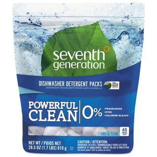 Seventh Gen. 45 Packet Free and Clear Natural Dishwasher Detergent Concentrated Packs (Pack of 8)