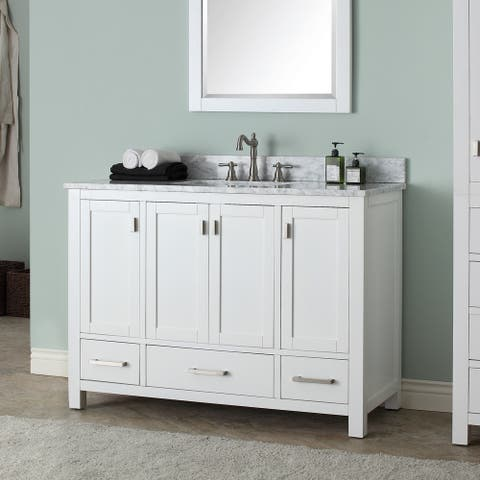 Avanity Modero 49-inch Single Vanity in White Finish with Sink and Top