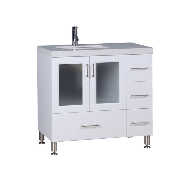 shop westfield 36 inch white single sink vanity free shipping today 12532446. Black Bedroom Furniture Sets. Home Design Ideas