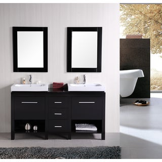 "New York 60"" Double Sink Vanity Set in Espresso"