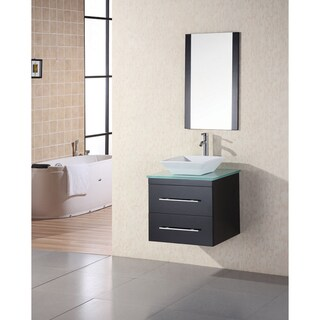 Portland Espresso 24-inch Glass Top Single Sink Wall Mount Vanity Set