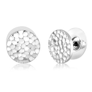 Rhodium Plated Hammered Circle Stud Earrings