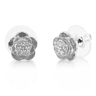 Rhodium-plated Flower Stud Earrings