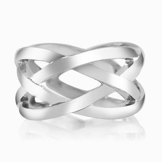 Rhodium-plated Crisscross Ring