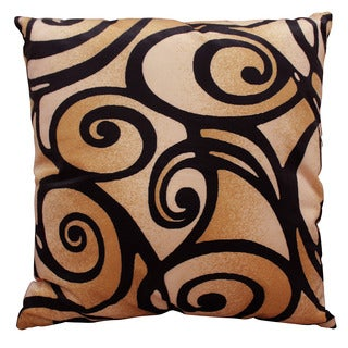 Bellagio Tan Abstract Swirl Print 18-inch x 18-inch Accent Pillow