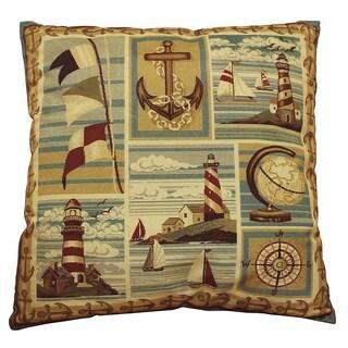 Bellagio Kahki Nautical Print Accent Pillow