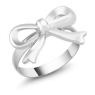 Rhodium Plated Bow Ring