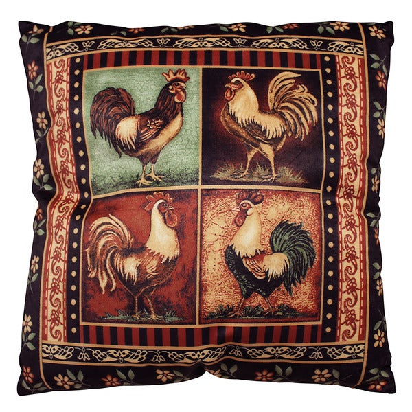DonnieAnn Bellagio Black Rooster Print 18-inch Square Accent Pillow