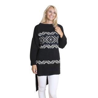 Muk Luks Women's Black Tunic Sweater