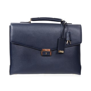 Brioni Blue Leather Business Briefcase