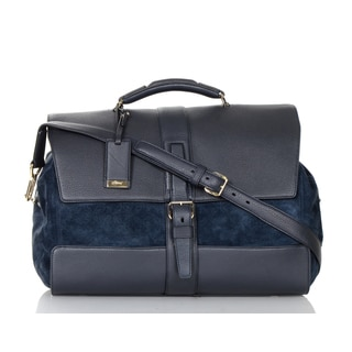 Brioni Blue Leather and Suede Carry On Tote Bag