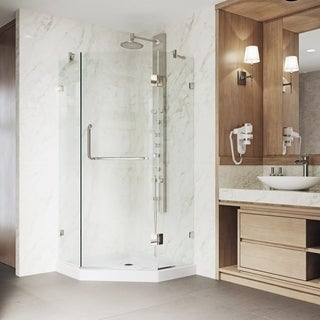 VIGO Piedmont 38 x 38 Frameless Neo-Angle .375-in. Clear Glass/Brushed Nickel Hardware Shower Enclosure with Low-Profile Base