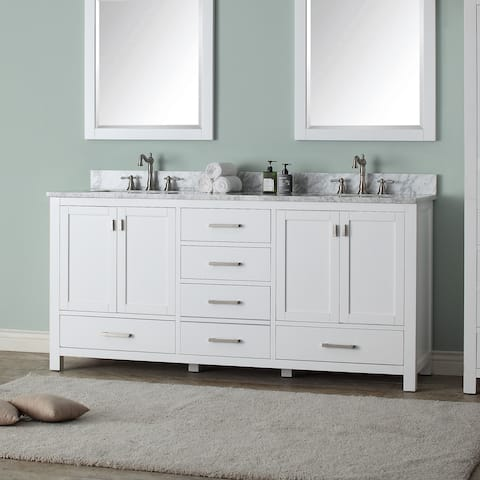 Avanity Modero 73-inch Double Vanity in White Finish with Dual Sinks and Top