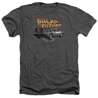 Back To The Future/Time Machine Adult Heather T-Shirt in Charcoal