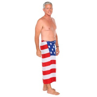 1 World Sarongs Men's American Flag Fringeless Sarong (Indonesia)