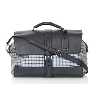 Brioni Black/Grey Plaid Carry On Travel Tote Bag
