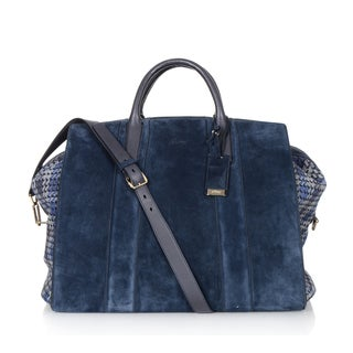 Brioni Blue Plaid Leather Carry On Tote Bag