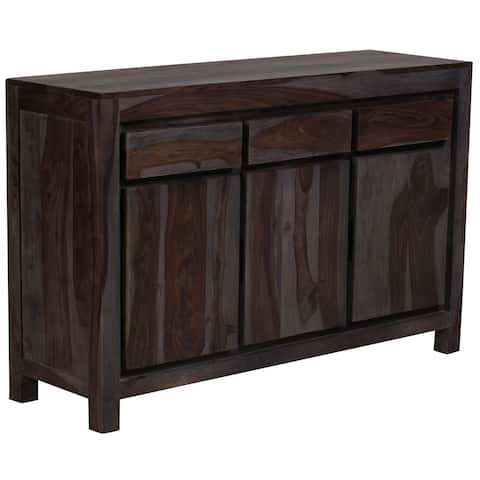 "Wanderloot Big Sur Grey Wash Solid Sheesham 3-door, 3-drawers Sideboard (India) - 34""H x 16""D x 53""W"