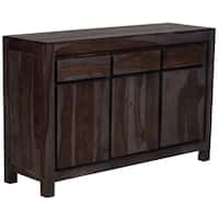 "Handmade Wanderloot Big Sur Grey Wash Solid Sheesham 3-door, 3-drawers Sideboard (India) - 34""H x 16""D x 53""W"