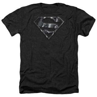 Superman/Mech Shield Adult Heather T-Shirt in Black