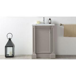 24 in warm grey bathroom vanity with ceramic top