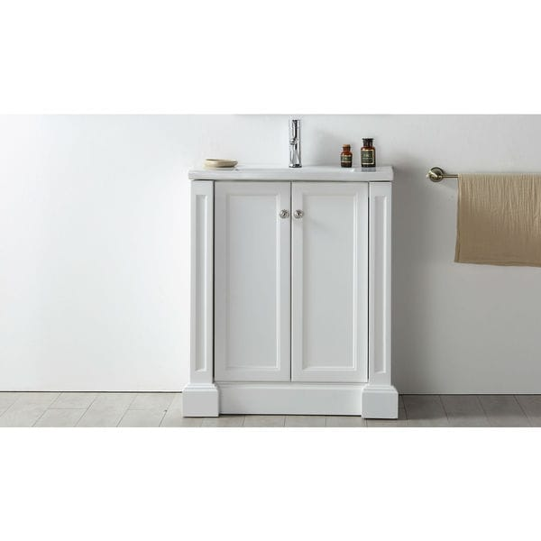 Legion furniture white ceramic top wood mdf 30 inch 2 door for Legion furniture 30 inch bathroom vanity