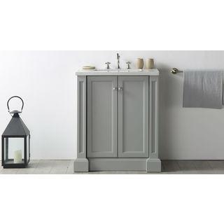 "Legion Furniture 30"" Cool Grey Single Sink Vanity with Quartz Top"