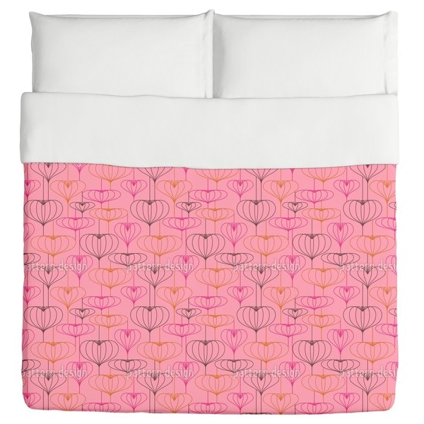 Heart Lantern Pink Duvet Cover