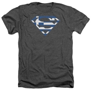 Superman/Greek Shield Adult Heather T-Shirt in Charcoal