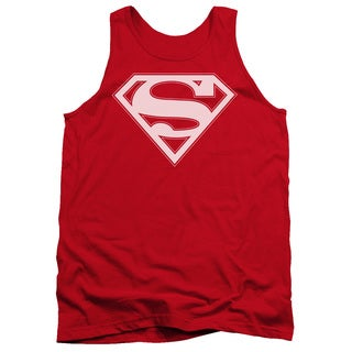 Superman/Red & White Shield Adult Tank in Red