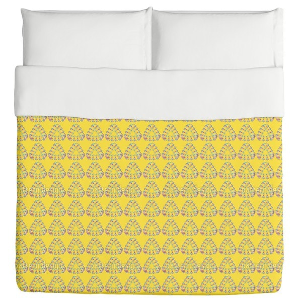 Flowers in the Triangle Duvet Cover