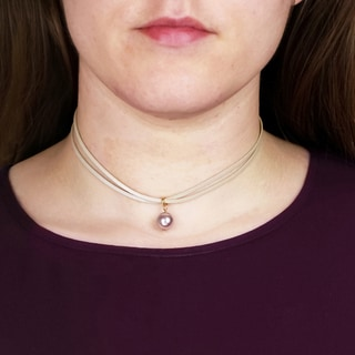 Saachi Double Layer Leather Choker with Seashelll Pearl (China)