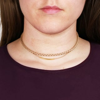Saachi Double Layer Leather Curved Bar Choker (China)