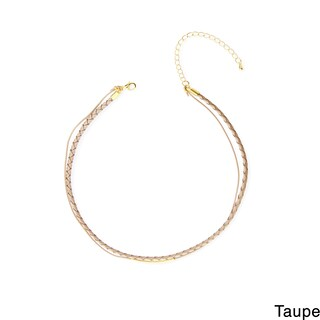 Handmade Saachi Double Layer Leather Curved Bar Choker (China) (2 options available)
