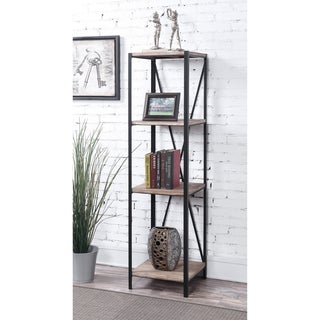 Convenience Concepts Wyoming Brown Metal/Wood 4-tier Bookcase Tower