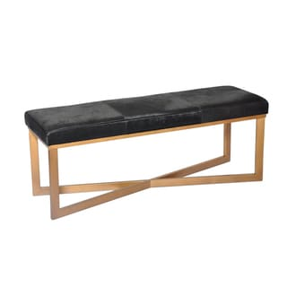 Hollywood Goldtone Metal And Black Leather Bench