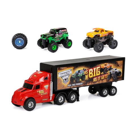 New Bright Radio-control Monster Jam Hauler Set with Grave Digger and Toro Loco
