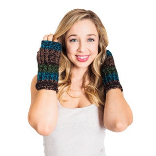 Women's Winter Color Blend Hobo Fingerless Gloves (Nepal)