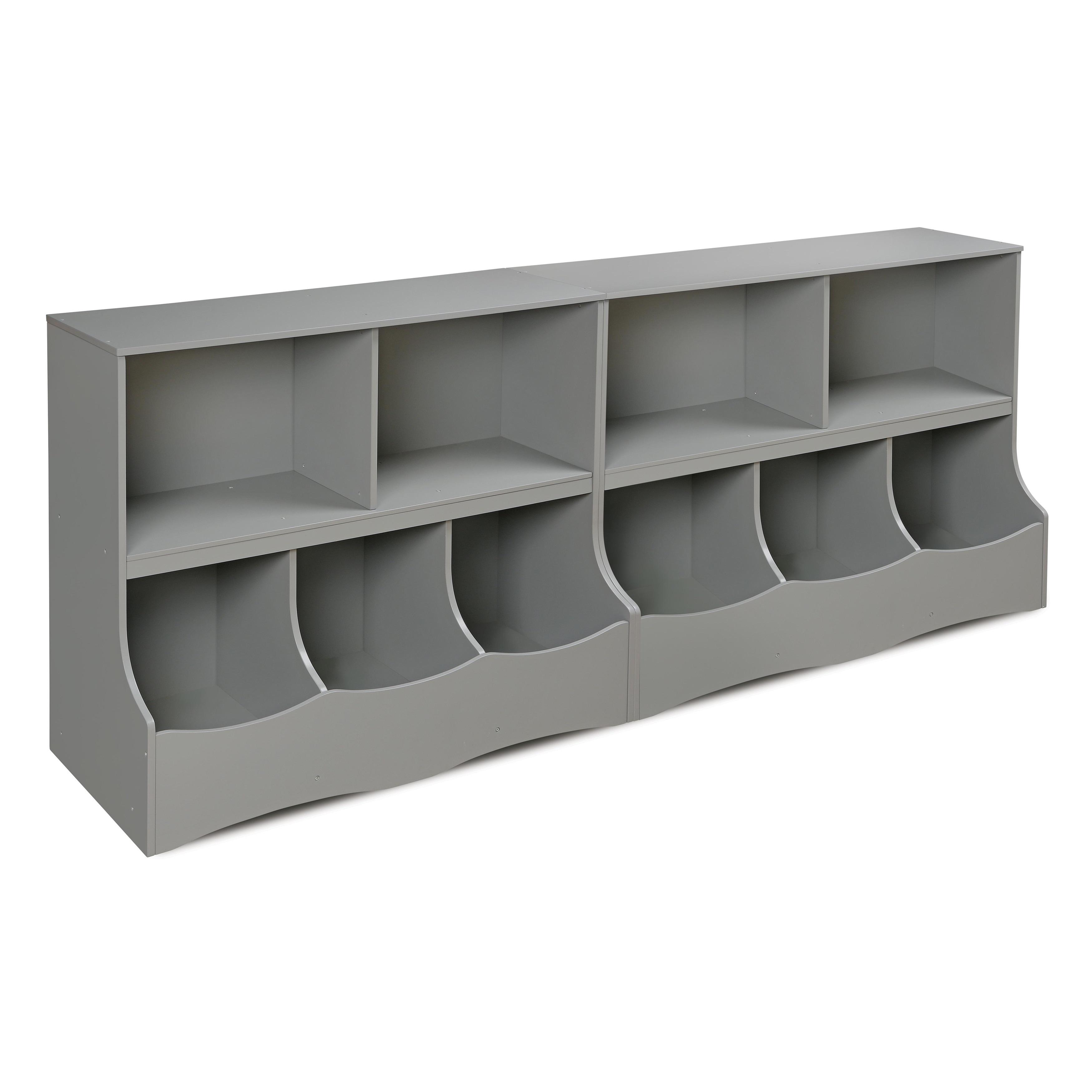 Badger Basket White Wood Multi Bin Storage Cubby Grey