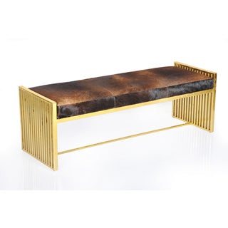 Horizon Goldtone Metal and Leather Modern Bench